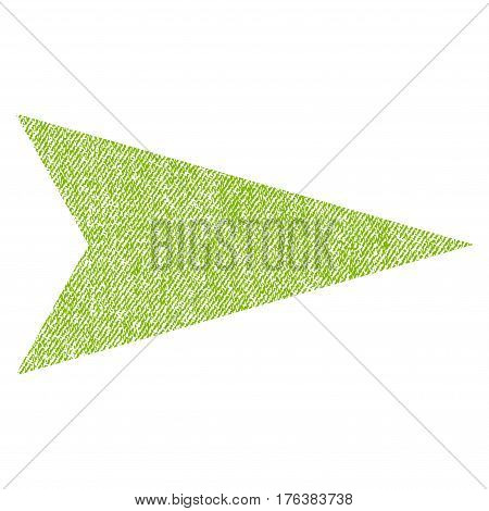 Arrowhead Right vector textured icon for overlay watermark stamps. Fabric light green vectorized texture. Symbol with scratched design. Rubber seal stamp with fiber textile structure.