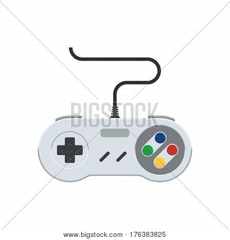 Video game controller. Retro Gamepad icon. Vintage joystick sign. Vector illustration in flat style, isolated on white background