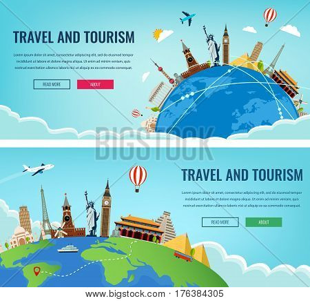 Travel composition with famous world landmarks. Travel and Tourism. Concept website template. Vector illustration. Modern flat design.