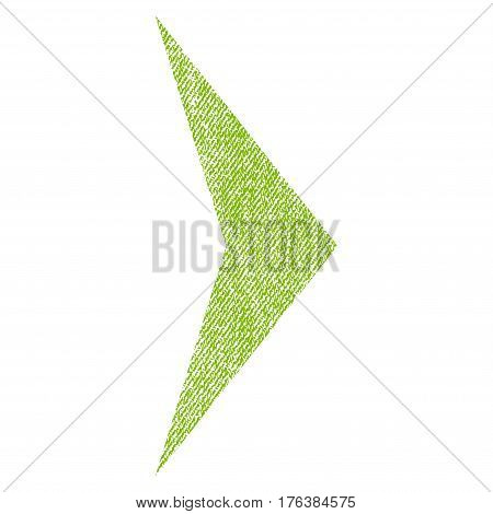 Arrowhead Right vector textured icon for overlay watermark stamps. Fabric light green vectorized texture. Symbol with unclean design. Rubber seal stamp with fiber textile structure.