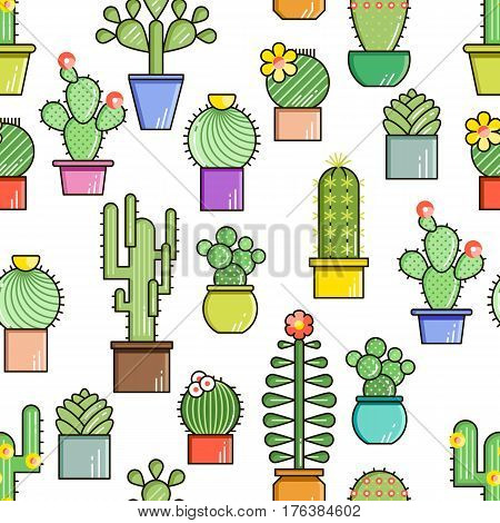 Cactus and succulents vector line seamless pattern. Exotic floral garden silhouettes. Nature cacti colorful design illustration. Graphic cartoon plant collection isolated