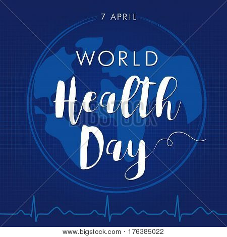 Globe and normal cardiogram as a concept for World Health Day. Poster for 7 April, World Health Day. World Health Day card