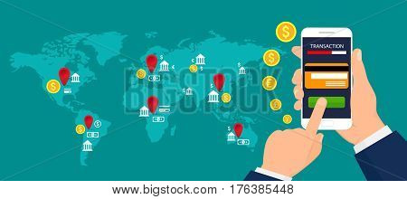Сoncept of mobile banking. Mobile payments, mobile banking and transactions around the world. Vector illustration.