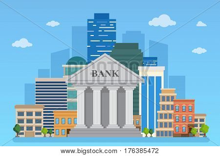 Bank building on the urban landscape. Vector illustration Flat style.