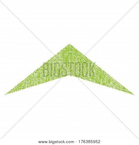 Arrowhead Up vector textured icon for overlay watermark stamps. Fabric light green vectorized texture. Symbol with scratched design. Rubber seal stamp with fiber textile structure.