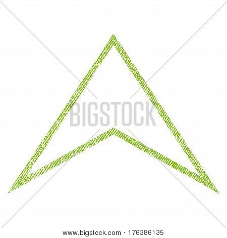 Arrowhead Up vector textured icon for overlay watermark stamps. Fabric light green vectorized texture. Symbol with dust design. Rubber seal stamp with fiber textile structure.