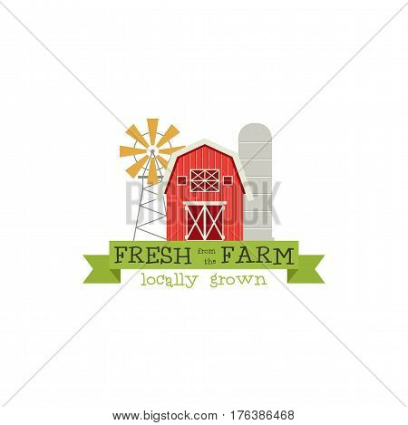Fresh from the Farm concept logo. Template with farm landscape, windmill. Label for natural farm products. Colorful logotype isolated on white background. Stock Vector illustration