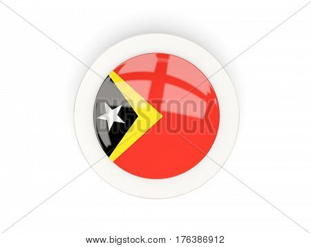 Round Flag Of East Timor With Carbon Frame