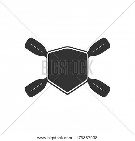 Rowing blank badge template for creating custom kayaking and paddling logo. Vector illustration.
