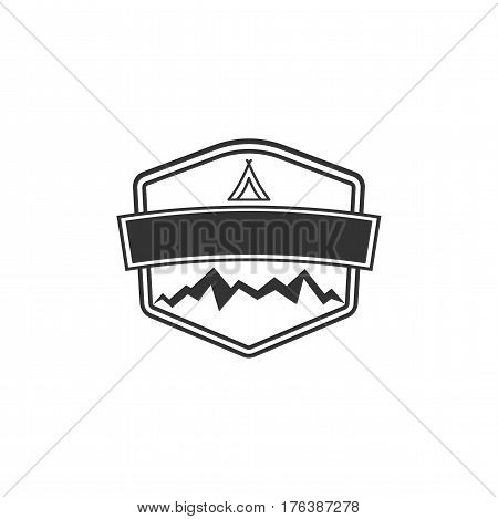 Vector blank badge form with mountains. Good for retro adventure labels, logos. Vintage silhouette insignia design. Isolated on white background. Stock silhouett illustration.