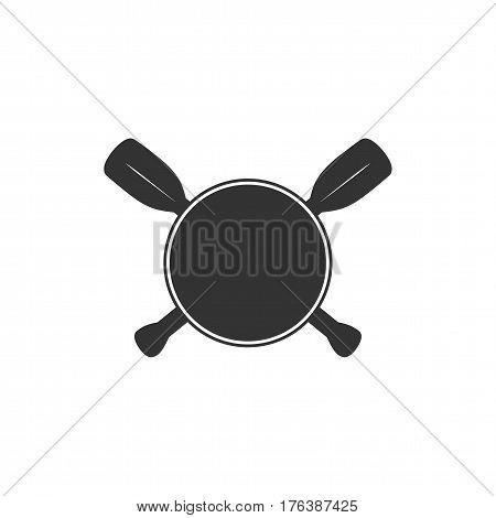 Rowing blank badge template for creating custom kayaking and paddling logo. Vector illustration