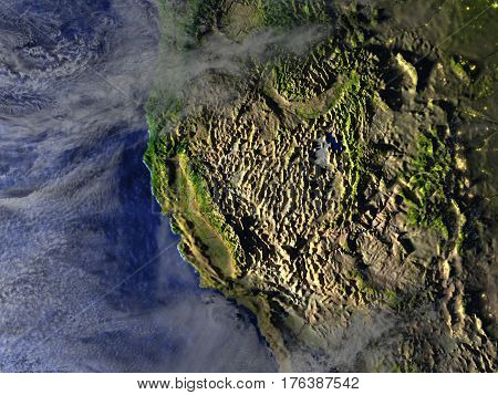 West Coast Of Usa On Realistic Model Of Earth