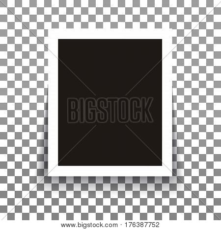 Isolated realistic empty vector photo frame mockup with shadow on transparent background. Template photo design.