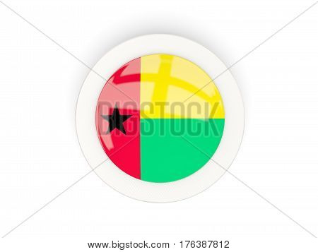 Round Flag Of Guinea Bissau With Carbon Frame