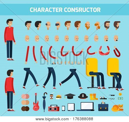 Colored isolated male character constructor flat composition with character constructor headline vector illustration