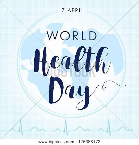 World Health Day cardio light. Globe and normal cardiogram as a concept for World Health Day. Poster for 7 April, World Health Day