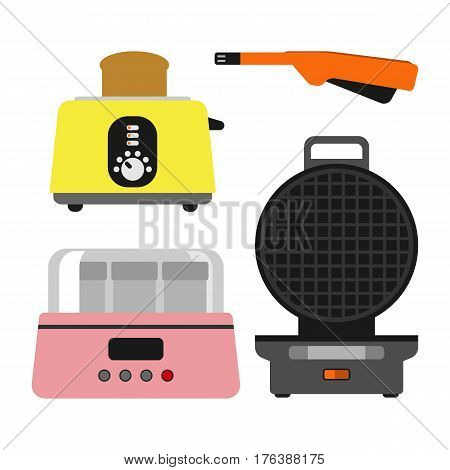 Old fashioned toaster vector illustration kitchenware appliance hot symbol electric tool and domestic yogurt electrical cooking stove household technology. Stainless heat nutrition sandwich cook.