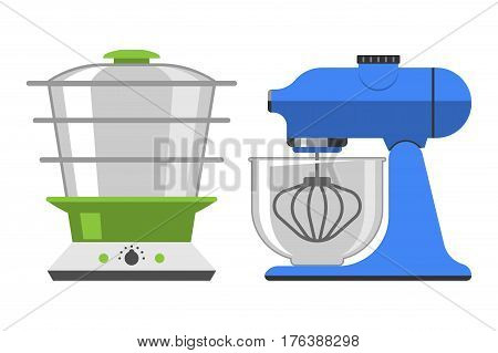Electrical hand mixer dishware isolated vector illustration kitchenware appliance and double boiler hot symbol electric tool cooking household technology. Cooking blend metal household electronic.