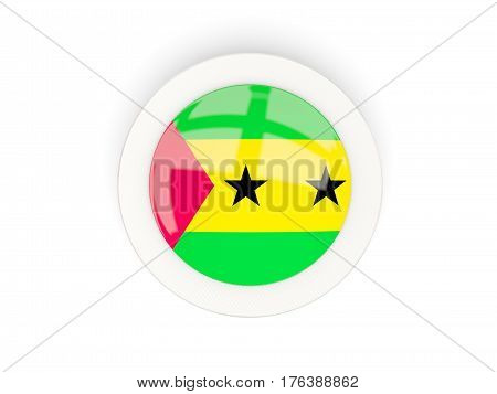 Round Flag Of Sao Tome And Principe With Carbon Frame