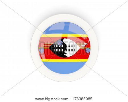 Round Flag Of Swaziland With Carbon Frame