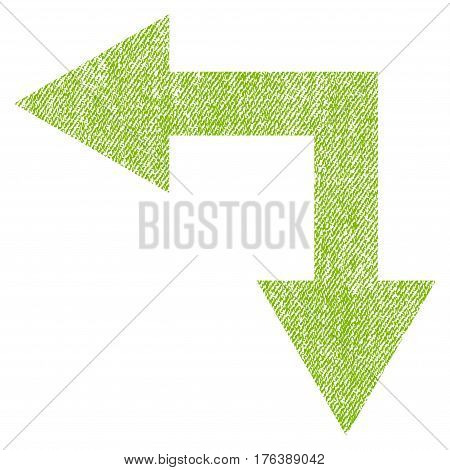 Bifurcation Arrow Left Down vector textured icon for overlay watermark stamps. Fabric light green vectorized texture. Symbol with scratched design. Rubber seal stamp with fiber textile structure.