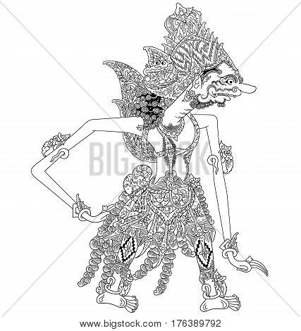 Bomawikata, a character of traditional puppet show, wayang kulit from java indonesia.
