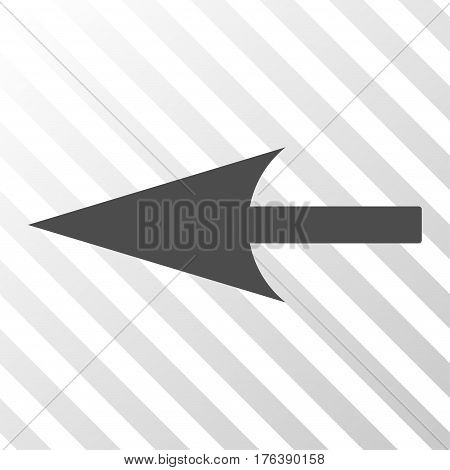 Sharp Left Arrow vector icon. Illustration style is a flat iconic gray symbol on a transparent background.