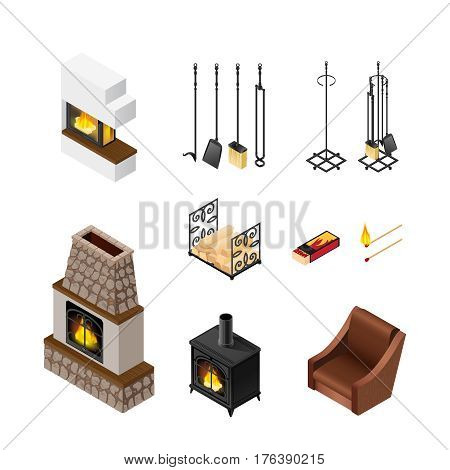 Fireplace isolated accessories set with isometric images of poker set pieces of fuelwood matches and grate vector illustration