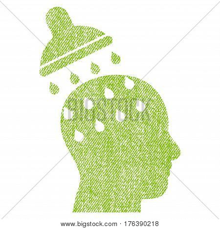 Brain Washing vector textured icon for overlay watermark stamps. Fabric light green vectorized texture. Symbol with scratched design. Rubber seal stamp with fiber textile structure.