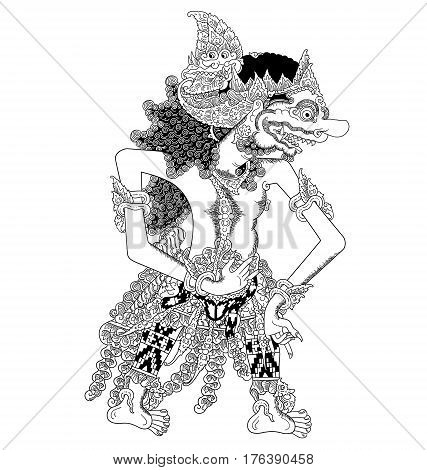 Brajalamatan, a character of traditional puppet show, wayang kulit from java indonesia.
