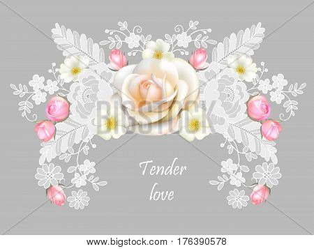 Vintage floral element with  Belgian lace.Romantic greeting card 1