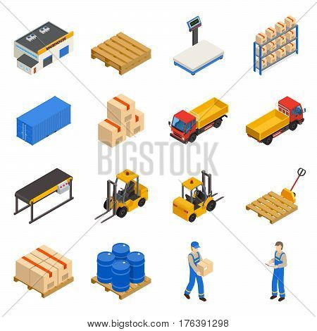 Warehouse isometric decorative icons set with elements of storage inventory  transportation and workers isolated vector illustration