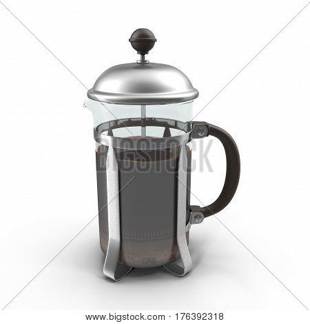 Tea metallic french press isolated on white background. 3D illustration