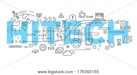 Vector Creative Illustration Of Hitech Word Lettering Typography With Line Icons On White Background