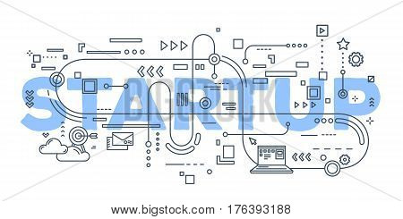 Vector Creative Illustration Of Business Startup Word Lettering Typography With Line Icons On White