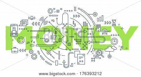 Vector Creative Illustration Of Green Money Word Lettering Typography With Line Icons On White Backg