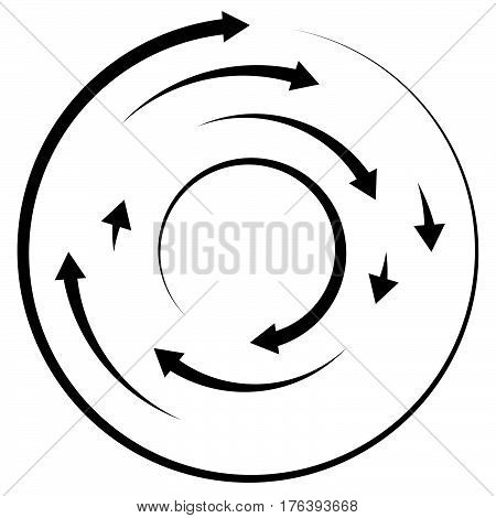 Circular Concentric Arrows. Cyclic, Cycle Arrows. Arrow Element To Illustrate Ripple, Swirl, Twirl C