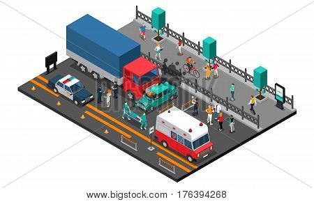 Road crash design with truck and car police and ambulance injured persons on stretcher  isometric vector illustration