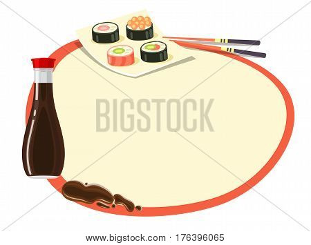 Circle with red frame and soy sauce bottle, set of sushi on square plate and chopsticks near on white. Even round label with space inside and traditional oriental kind of food signs around