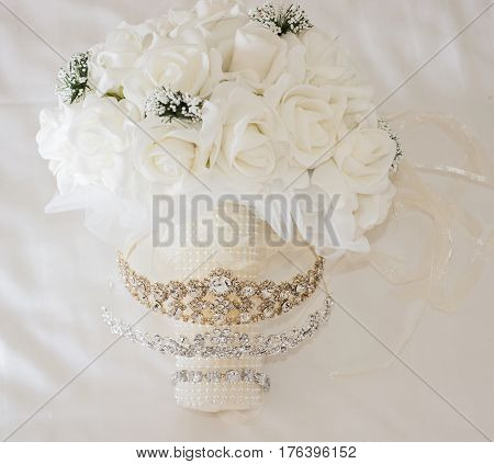 Brides Bouquet Bunch Of Flowers And Jewellery