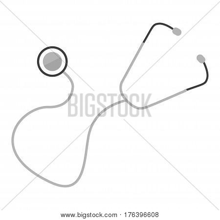 Stethoscope flat vector icon isolated on white background. Traditional medical tool or instrument for therapist, cardiologist or pediatrician Illustration for medical and healthcare concepts