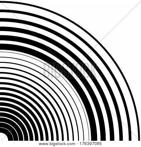Concentric Circles, Concentric Rings Circular Pattern. Abstract Black And White Geometric Element