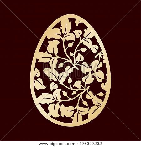 Openwork Easter egg with leaves. Laser cutting or foiling template for decorations cards interior decorative elements.