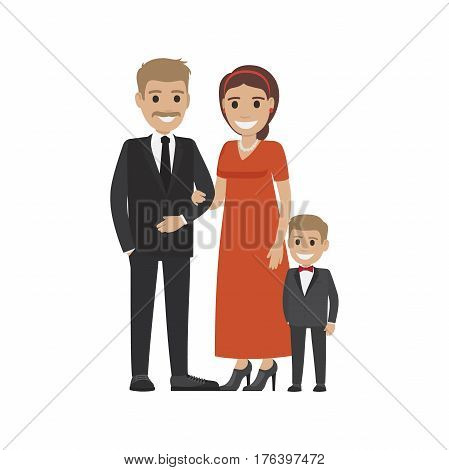 Married couple in expensive cloth and their little son. Family going to visit party. Smiling parents and boy isolated. Man woman and child on white. Parenthood concept vector illustration in flat