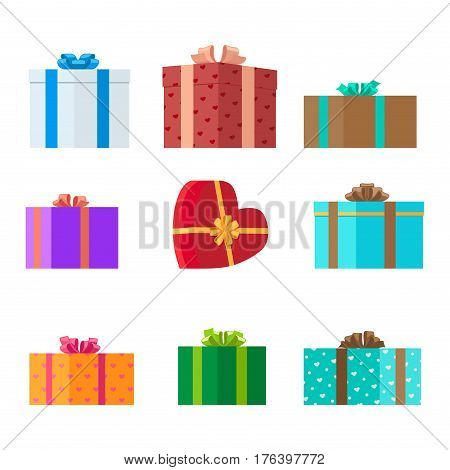 Gift boxes of different shapes and colors on white background . Decorate gifts and choose boxes design for different occasions. Celebrate holidays and exchange presents isolated vector illustration.