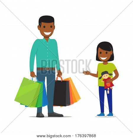 Family out on Shopping. Father with bags stands besides his daughter who holds doll on white background. African family has fun during shopping. Father and Daughter with purchases vector illustration.