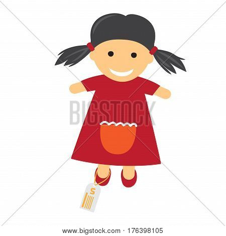 Doll in red dress with price on her leg and with smile on its face on white background. Cute doll in dress. Funny girlish toy for your happy childhood isolated vector illustration of cartoon doll.