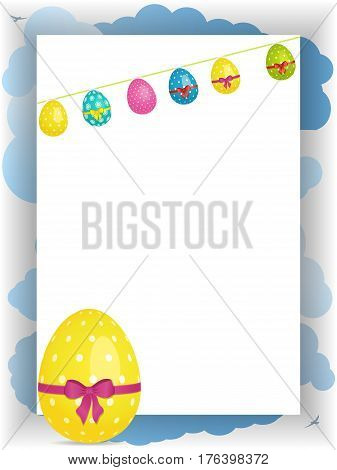 Easter Portrait Panel with Clouds; Birds; Egg Shaped Bunting and Decorated Yellow Egg