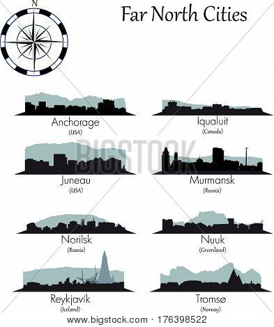Far north vector cities collection. Detailed skylines