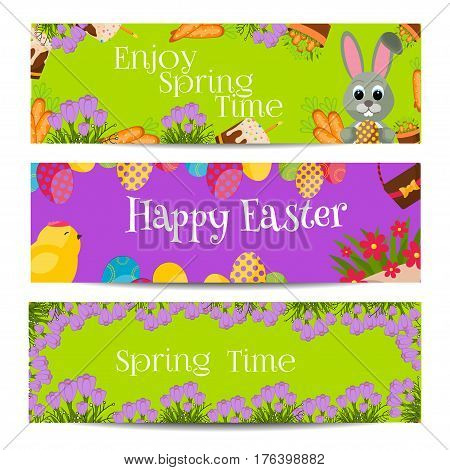 Easter banners with multicolored eggs holiday celebration design season card. Nature seasonal easter banner spring vector background. traditional flower happy easter greeting card.